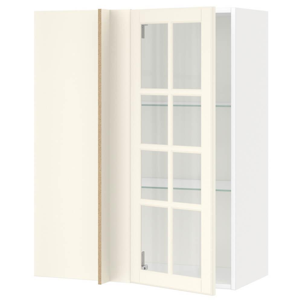Углов навесной шкаф с полками (стеклянной дверцей) МЕТОД