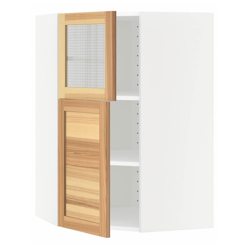 Угловой навесной шкаф (полки, 1 дверца и 1 стеклянная дверца) МЕТОД