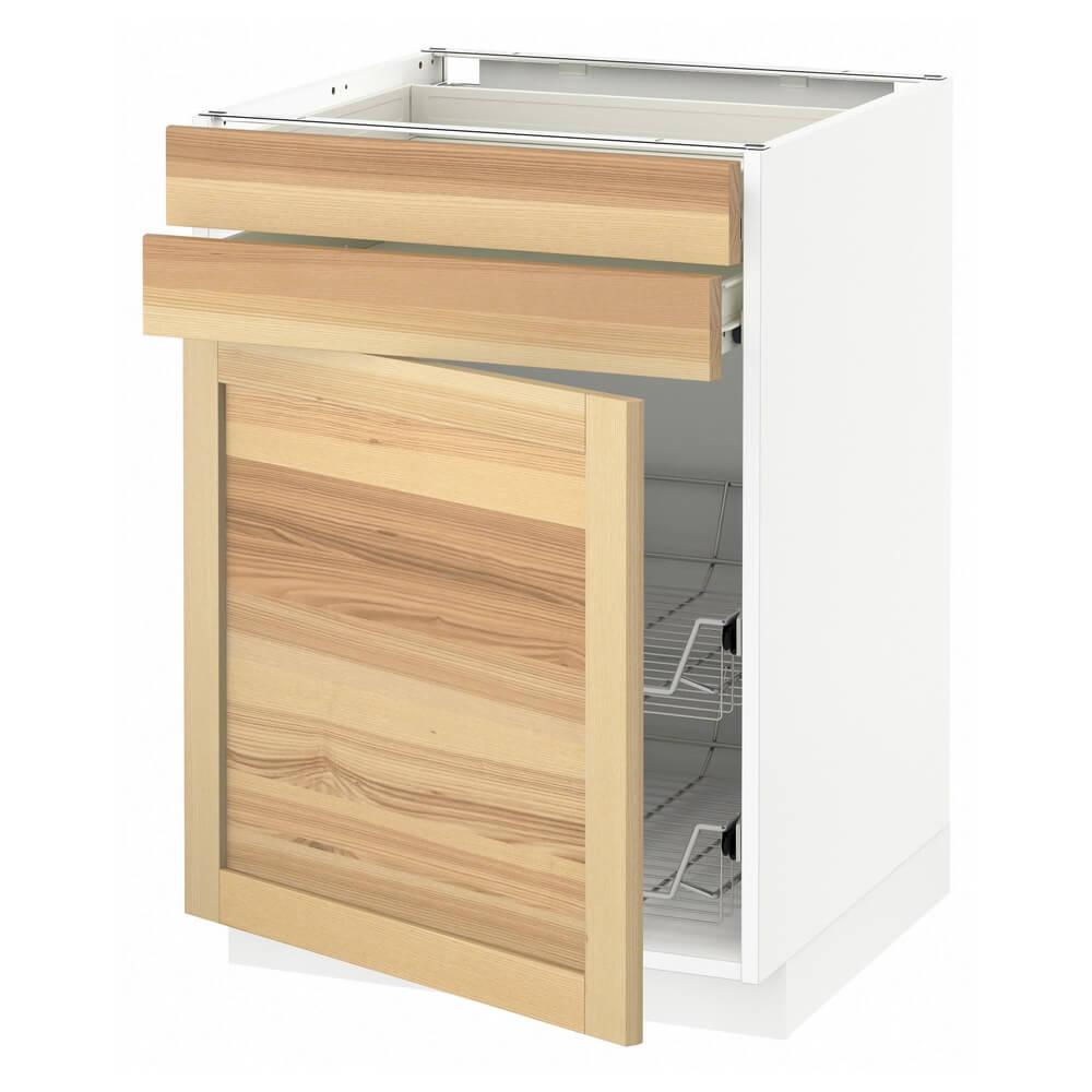 Напольный шкаф (дверца, 2 ящика и проволочная корзина) МЕТОД / ФОРВАРА