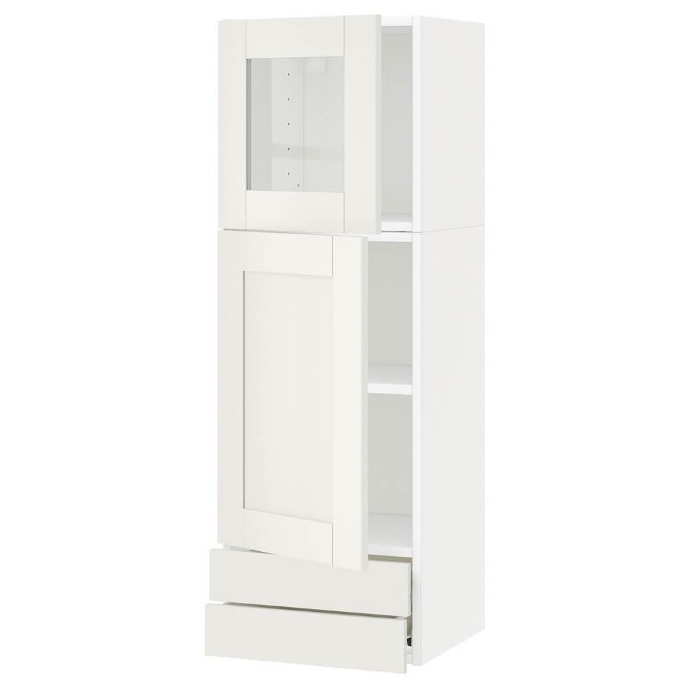 Навесной шкаф (стеклянные дверцы и 2 ящика) МЕТОД / ФОРВАРА