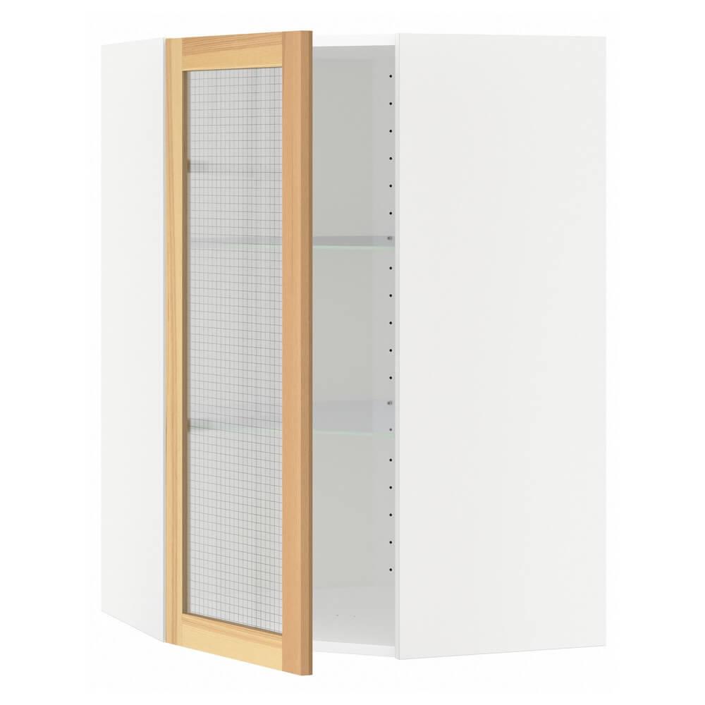 Углов навесной шкаф с полками (стеклянные дверцы) МЕТОД