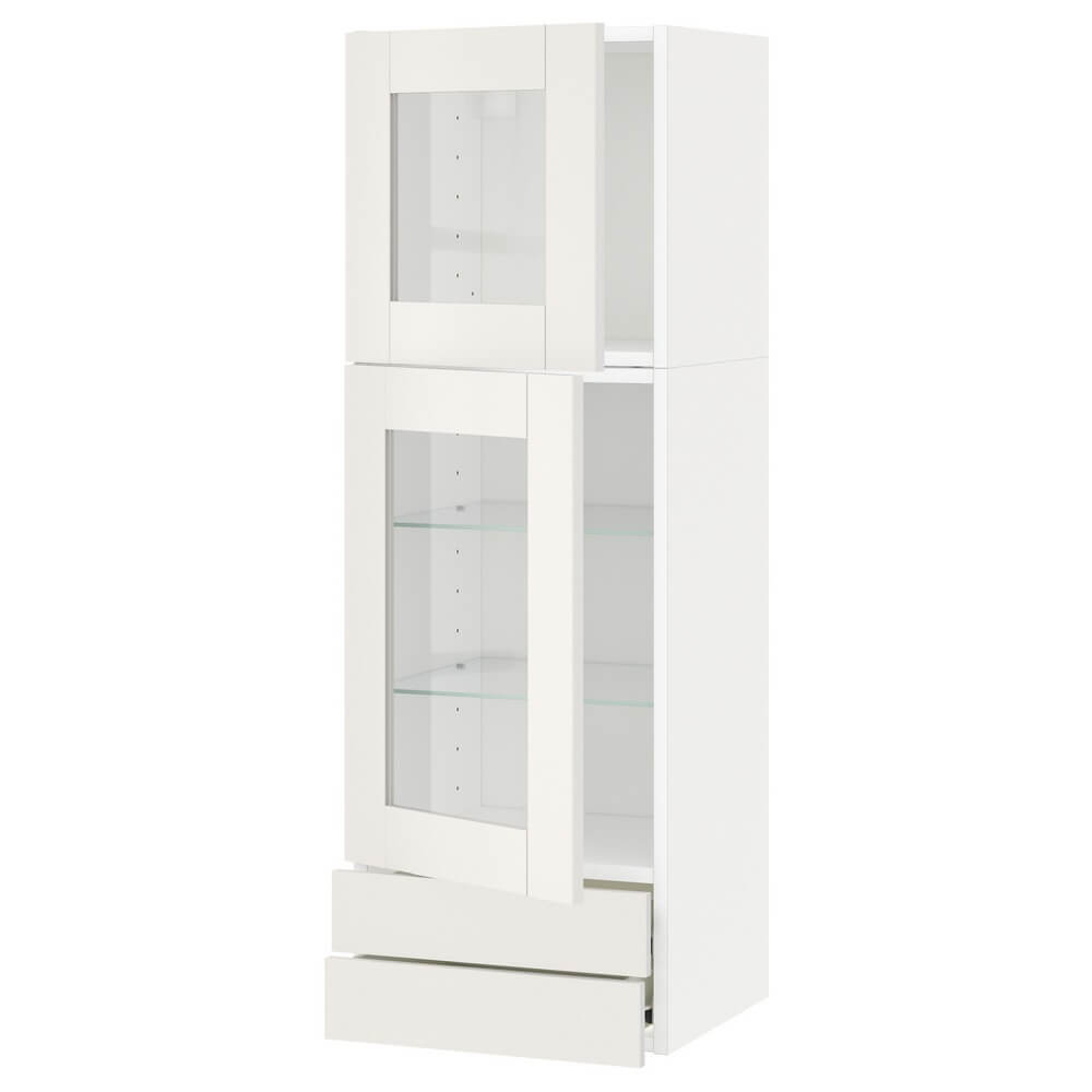 Навесной шкаф (2 стеклянные дверцы и 2 ящика) МЕТОД / ФОРВАРА