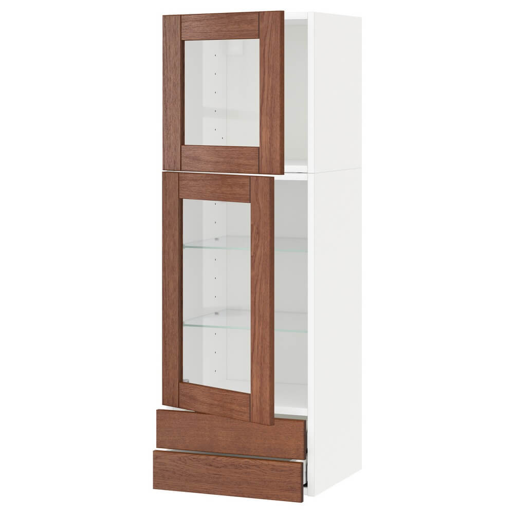 Навесной шкаф (2 стеклянные дверцы и 2 ящика) МЕТОД / МАКСИМЕРА