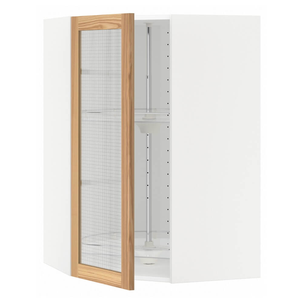 Угловой навесной шкаф с вращающейся секцией и стеклянной дверцей МЕТОД