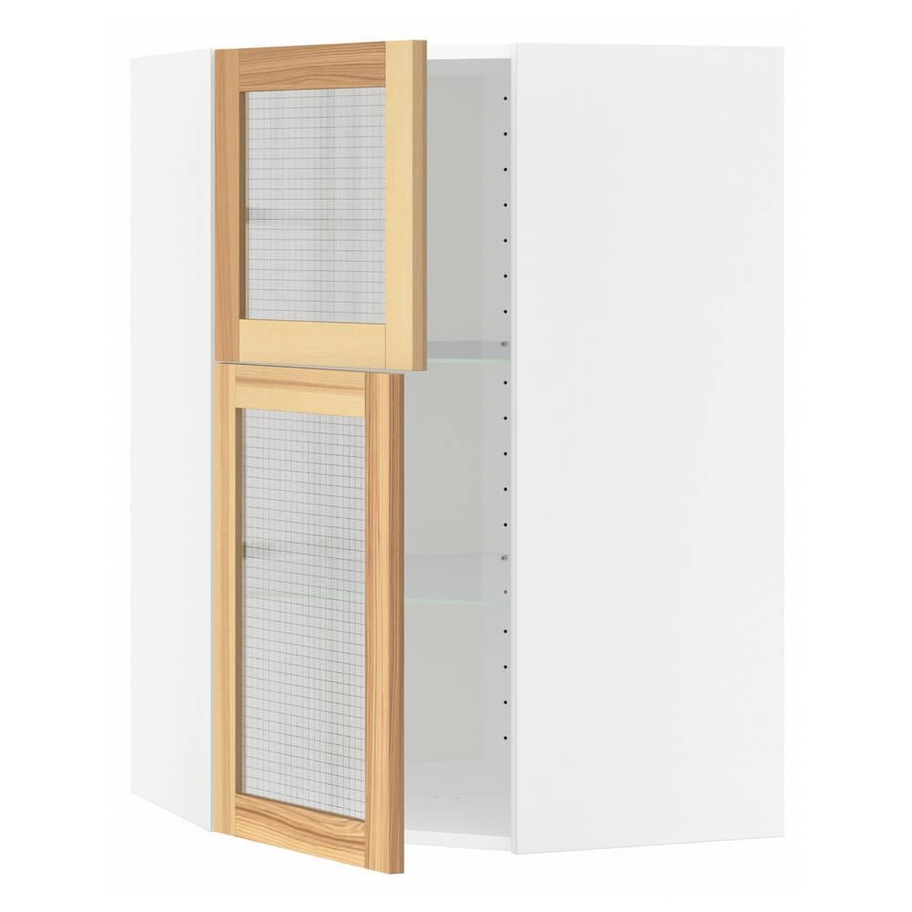 Угловой навесной шкаф (полки и 2 стеклянные дверцы) МЕТОД