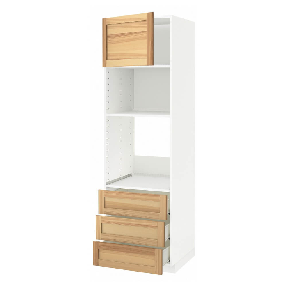 Высокий шкаф для духовки или СВЧ с дверцей и 3 ящиками МЕТОД / ФОРВАРА