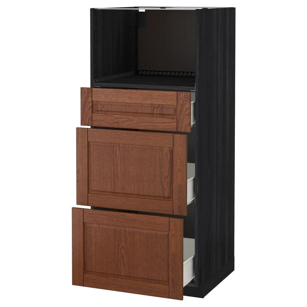 Высокий шкаф для СВЧ с 3 ящиками МЕТОД / ФОРВАРА