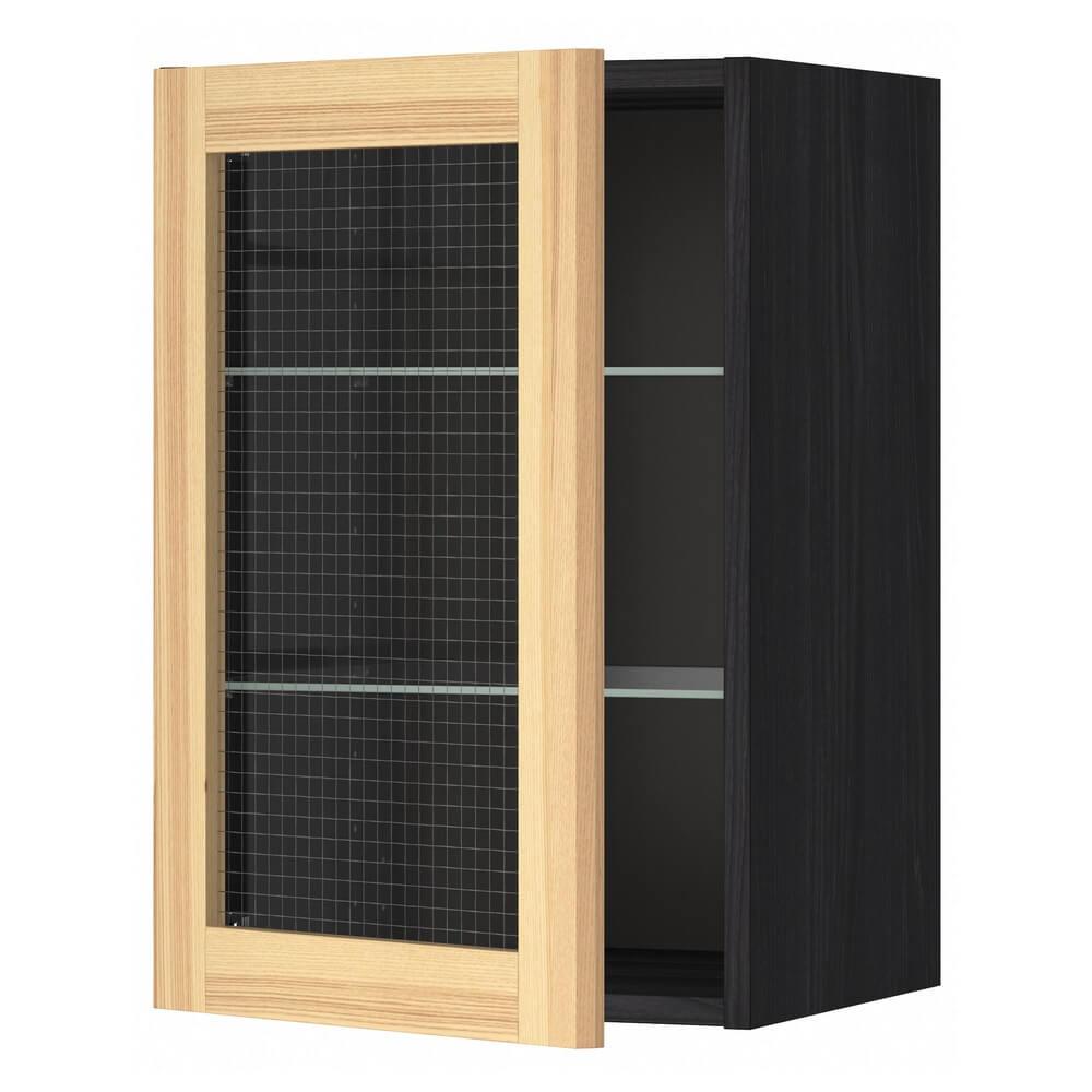 Навесной шкаф с полками и стеклянной дверцей МЕТОД