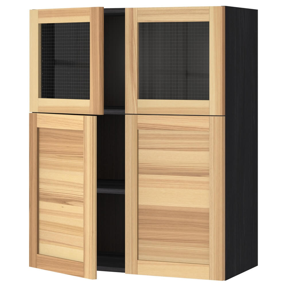 Навесной шкаф (полки, 2 двойные и 2 стеклянные дверцы) МЕТОД