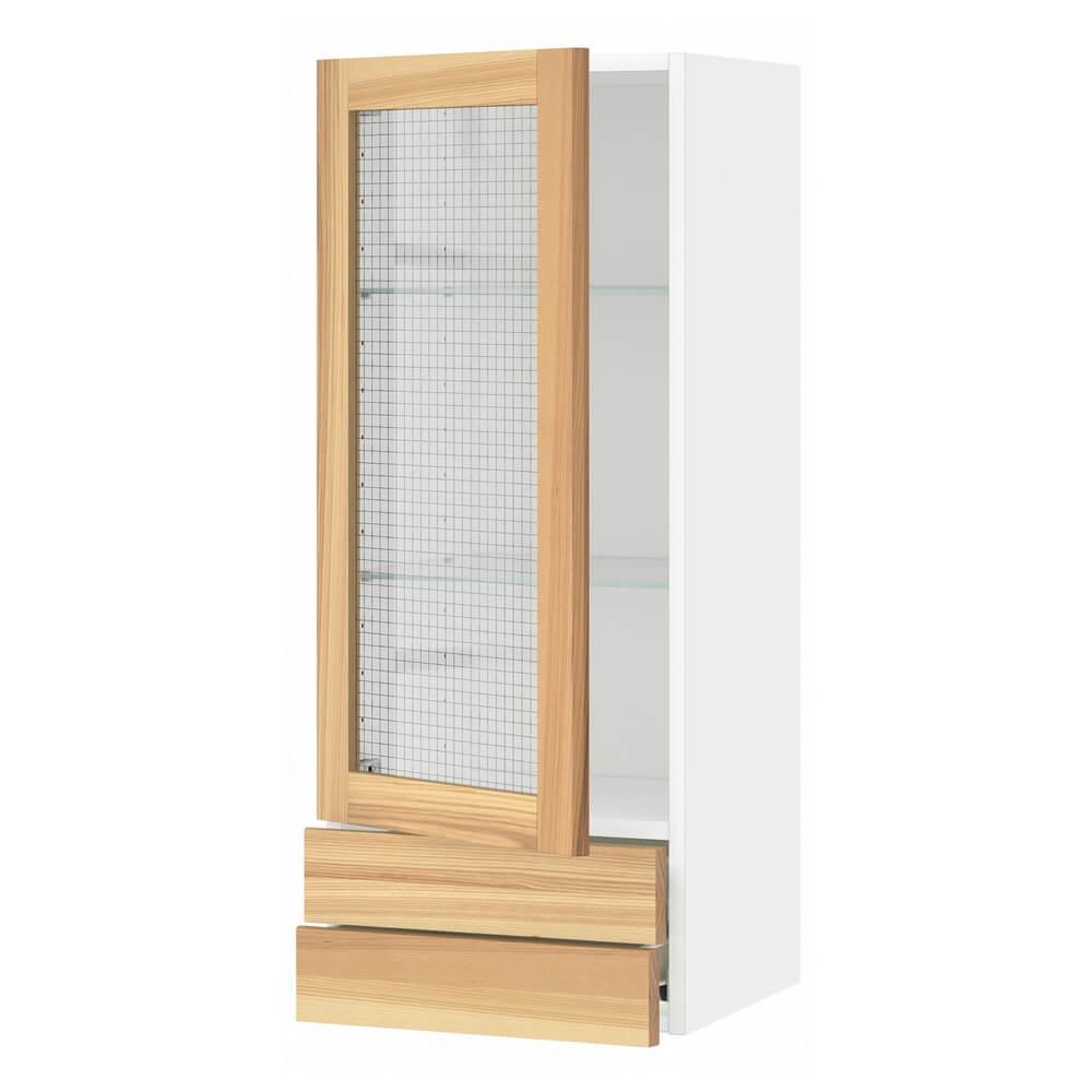 Навесной шкаф (стеклянная дверца и 2 ящика) МЕТОД / ФОРВАРА