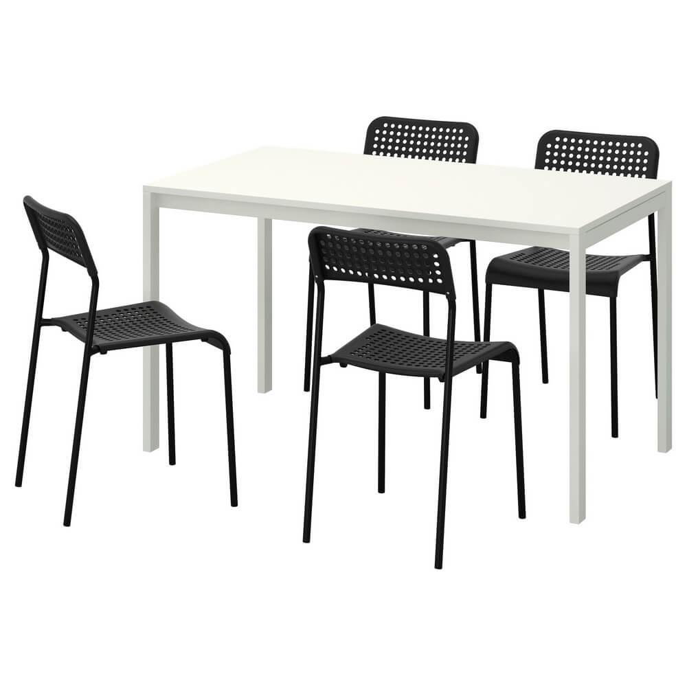 Стол и 4 стула МЕЛЬТОРП / АДДЕ