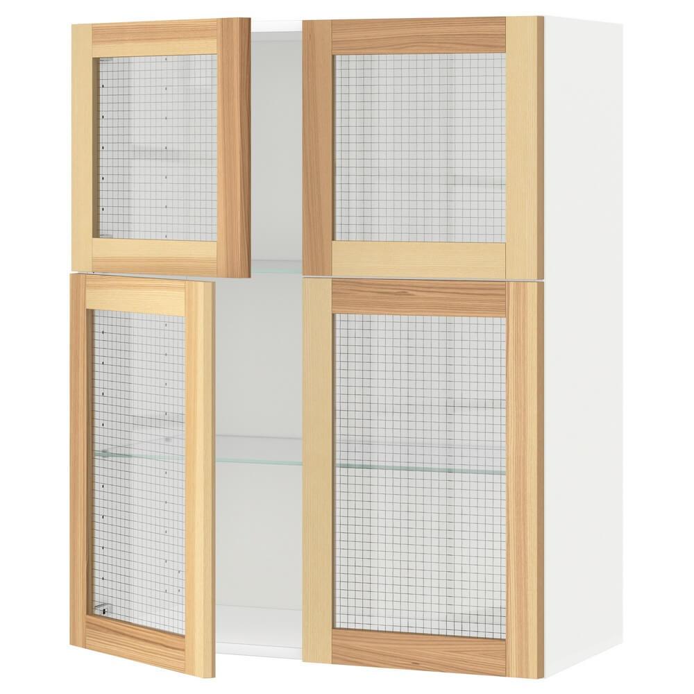 Навесной шкаф с полками (4 стеклянные дверцы) МЕТОД