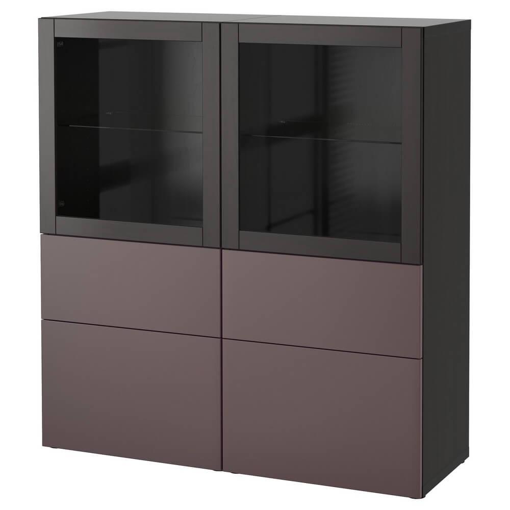 Комбинация для хранения со стеклянными дверцами БЕСТО
